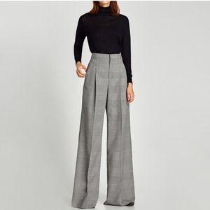 ZARA wide leg pleated pants plaid checked retro